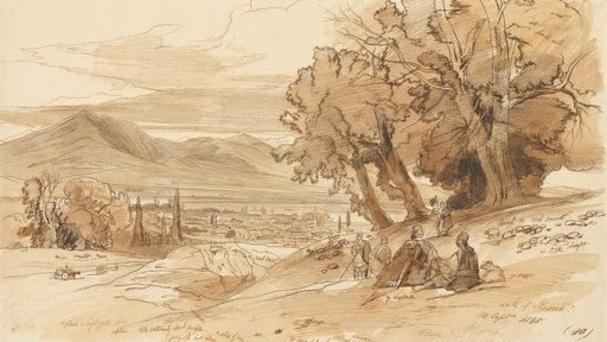 An exhibition of Edward Lear's sketches made in 1848 during his first trip to Albania has opened (National Coastline Agency via AP)