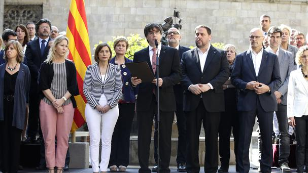 The leader of Spain's Catalonia region, Carles Puigdemont, during a statement in Barcelona. (AP/Manu Fernandez)