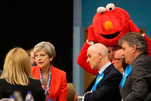British Prime Minister Theresa May waits for the results to be declared at the count centre in Maidenhead yesterday. Picture: AFP/Getty