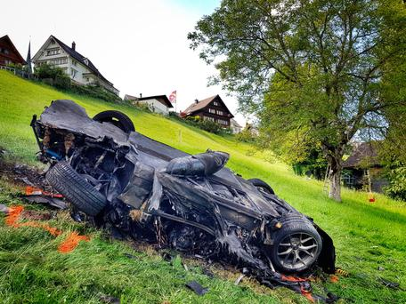 The car involved in a crash where Richard Hammond escaped serious injury. Photo: PA
