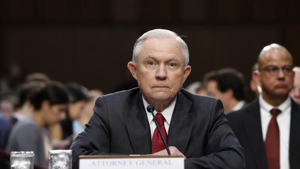 Attorney General Jeff Sessions gives evidence on Capitol Hill (AP)