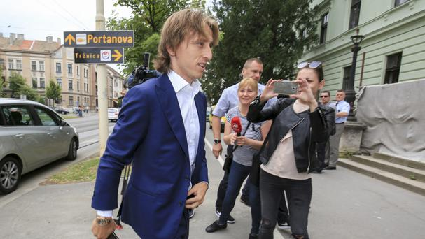 Real Madrid player Luka Modric arrives at the courthouse in Osijek, eastern Croatia (AP)