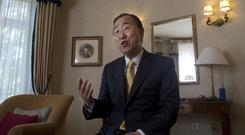 Former UN Secretary-General Ban Ki-moon speaks during a visit to Madrid (Paul White/AP)