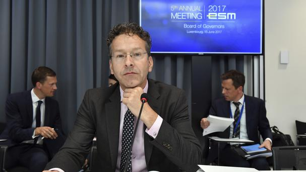 Jeroen Dijsselbloem chairs a meeting at the office of the European Stability Mechanism in Luxembourg (AP)