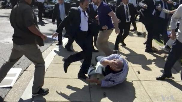 The violence took place last month in the US capital (Voice of America/AP)