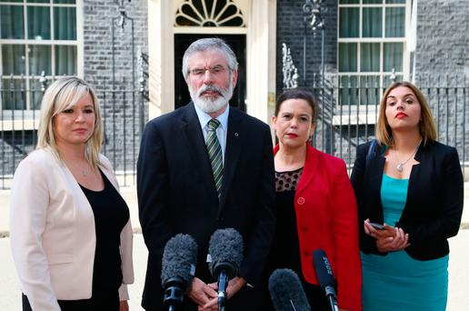 Sinn Féin's Northern Ireland leader Michelle O'Neill, left, party president Gerry Adams, and deputy Mary Lou McDonald after Downing Street talks. Photo: PA Wire