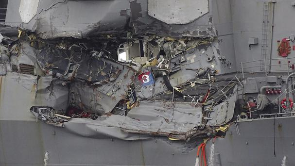 The damaged USS Fitzgerald at Yokosuka Naval Base (AP)