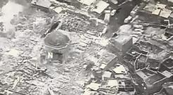 This image provided shows al-Nuri mosque destroyed by IS in Mosul (US CENTCOM via AP)