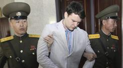 American student Otto Warmbier was sentenced to hard labour by a court in North Korea (AP/Jon Chol Jin)