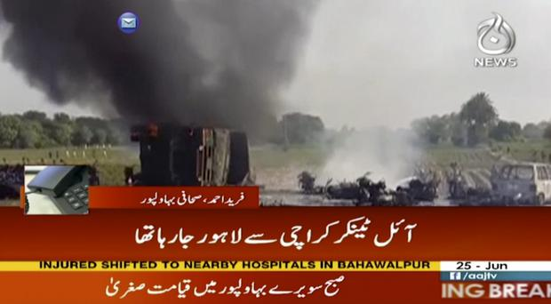 The tanker flipped over in Pakistan