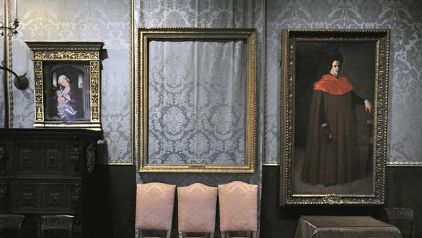 The empty frame from which thieves cut Rembrandt's Storm On The Sea Of Galilee remains on display at the Isabella Stewart Gardner Museum in Boston (AP)