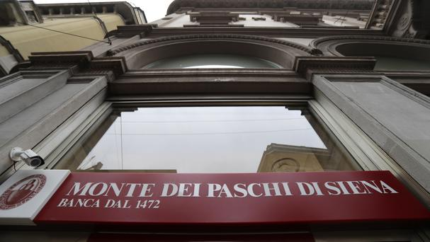 A view of a Monte Dei Paschi di Siena bank branch in Milan (AP)
