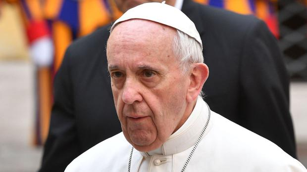 Pope Francis leaves his accommodation in the Vatican ahead of meeting the Prince of Wales and the Duchess of Cornwall.