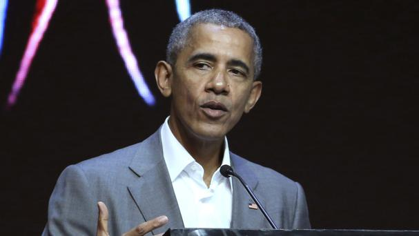 Former US president Barack Obama delivers a speech during the 4th Congress of Indonesian Diaspora Network in Jakarta (AP)