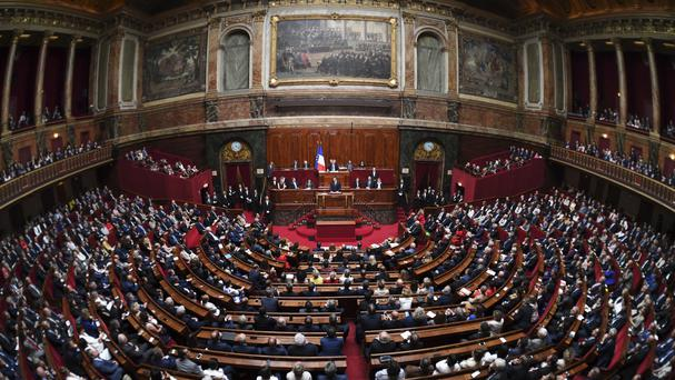 French president Emmanuel Macron, speaks during a special congress gathering both houses of parliament (AP)