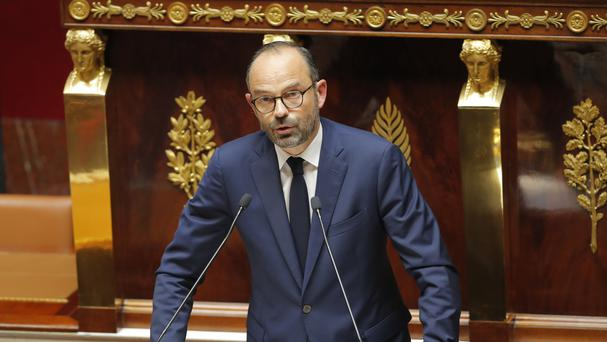 French Prime Minister Edouard Philippe delivers his speech (AP)
