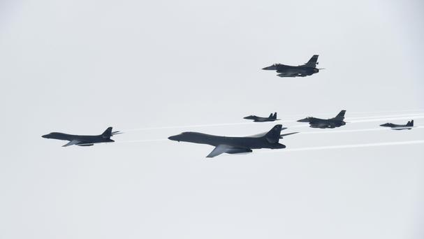 US Air Force B-1B bombers fly with South Korean and US fighter jets over the Korean Peninsula (AP)