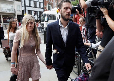 Charlie Gard's parents, Connie Yates and Chris Gard, arrive at the High Court in London. Photo: Reuters