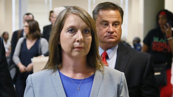 Betty Shelby has submitted her resignation from the Tulsa police force, her lawyer said (AP/Sue Ogrocki)