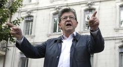 Jean-Luc Melenchon during a campaign meeting in Marseille (AP)