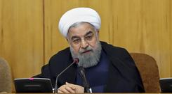 President Hassan Rouhani speaks during a cabinet meeting in Tehran. (AP)