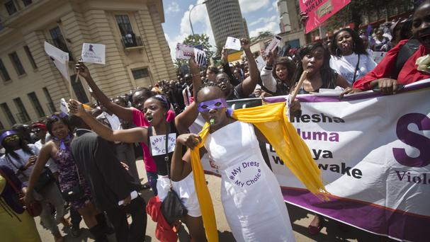 Kenyan women protest for the right to wear whatever clothes they want. (AP)