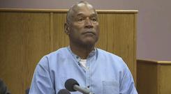 OJ Simpson appears via video for his parole hearing at the Lovelock Correctional Centre in Nevada (KOLO-TV via AP, Pool)