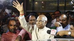 Ram Nath Kovind waves arrival at the airport in New Delhi. (PA), India. Kovind, 71, a Hindu nationalist leader has been elected India's new president, a largely ceremonial position. (AP Photo/Tsering Topgyal, file)