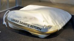 The Apollo 11 Contingency Lunar Sample Return Bag used by astronaut Neil Armstrong (Richard Drew/AP)