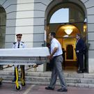 Workers take a coffin to the Dali Theatre Museum in Figueres (AP/Manu Fernandez)