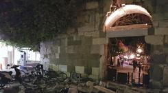 A damaged building after a strong earthquake on the Greek island of Kos (Kalymnos-news.gr via AP)
