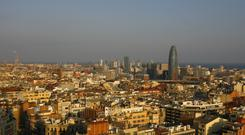 General view of the Barcelona skyline seen from of Antoni Gaudi's cathedral La Sagrada Familia in the Catalan city