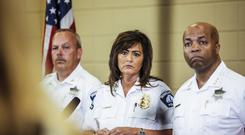 Janee Harteau pictured at a news conference on Thursday - she has now resigned over the police shooting death of Justine Damond (Maria Alejandra Cardona/Minnesota Public Radio via AP)