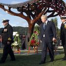 Boris Johnson at a service at Pukeahu National War Memorial Park in Wellington, New Zealand after he arrived for a two-day visit (Mark Mitchell/New Zealand Herald via AP)