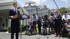 White House senior adviser Jared Kushner speaks to reporters outside the White House (Pablo Martinez Monsivais/AP)