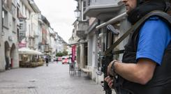 The police shut down the old town of Schaffhausen in Switzerland, while they search for the attacker (AP)