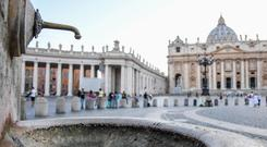 A dry fountain in St Peter's Square (Alessandro Di Meo/ANSA via AP)