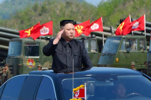 Kim Jong-un watches a military drill marking the 85th anniversary of the Korean People's Army earlier this year. Photo: Reuters