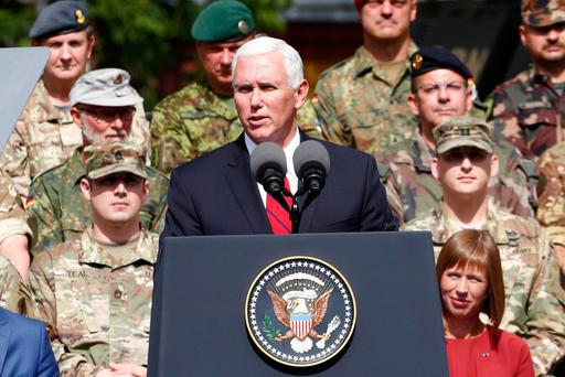 Mike Pence delivers a speech in Tallinn, Estonia, yesterday. Photo: Reuters