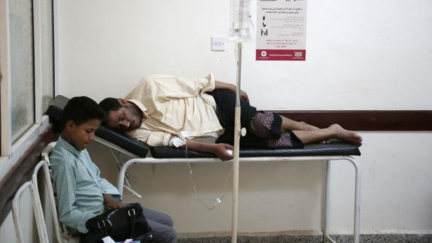 A man is treated for suspected cholera infection at a hospital in Sanaa, Yemen (Hani Mohammed/AP)