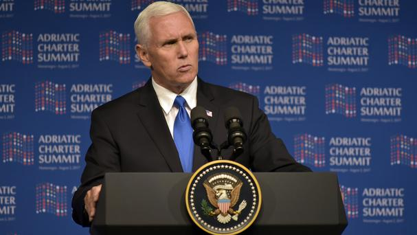 US Vice President Mike Pence gives a speech at the Adriatic Charter Summit in Podgorica, Montenegro (Risto Bozovic/AP)