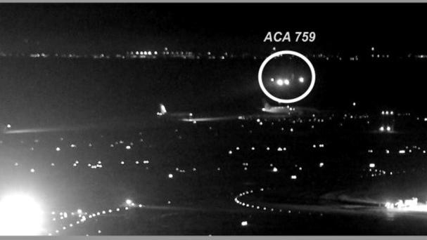 Investigators show Air Canada flight 759 (ACA 759) attempting to land at the San Francisco International Airport in San Francisco on July 7 (National Transportation Safety Board/AP)