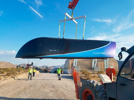 The prototype of a Hyperloop One pod pictured last month