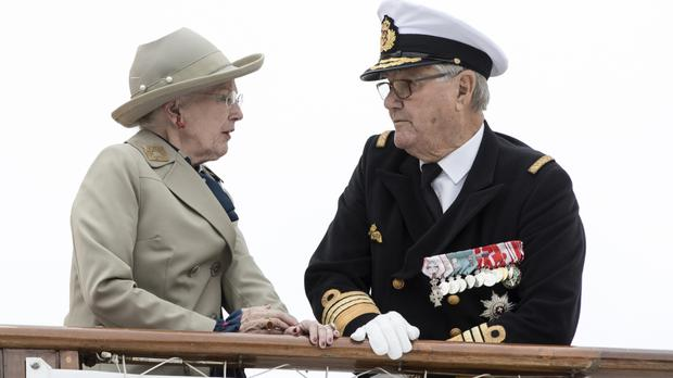 Danish Queen Margrethe and Prince Henrik aboard the Royal Yacht Dannebrog (Mikkel Berg Pedersen/Ritzau via AP)
