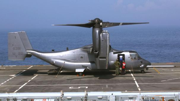 The personnel were aboard an MV-22 Osprey aircraft