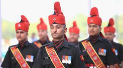 Indian soldiers in ceremonial uniform