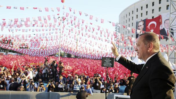 Turkey's president Recep Tayyip Erdogan addresses his supporters in Malatya (AP)