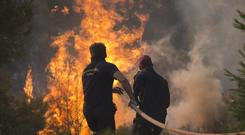 Firefighters try to extinguish the flames during a forest fire near Kapandriti north of Athens (AP)