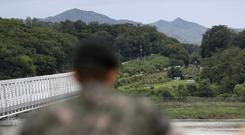 A South Korean soldier watches the north side at the Imjingak Pavilion in Paju, South Korea (AP)