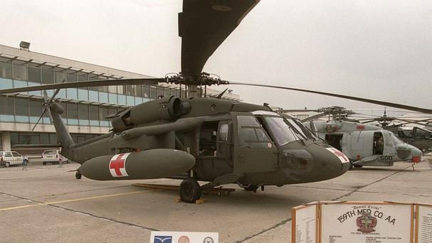 A Sikorsky UH 60 A/L Black Hawk helicopter